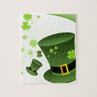 Leprechaun hats with 4 leaf clovers jigsaw puzzle
