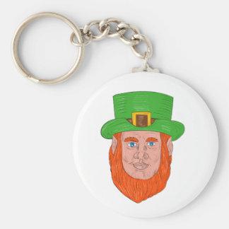 Leprechaun Head Front Drawing Basic Round Button Keychain