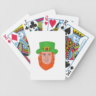 Leprechaun Head Front Drawing Bicycle Playing Cards
