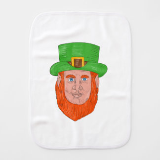 Leprechaun Head Front Drawing Burp Cloth