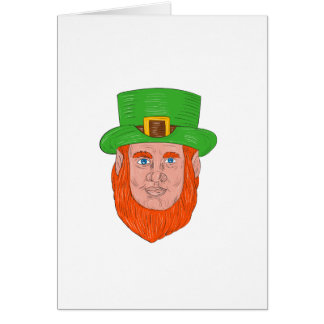 Leprechaun Head Front Drawing Card