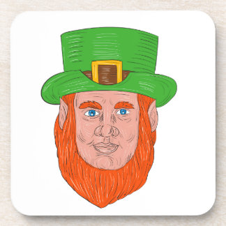 Leprechaun Head Front Drawing Coaster