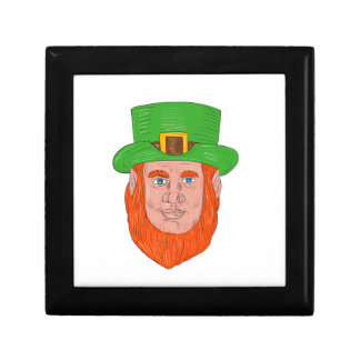Leprechaun Head Front Drawing Gift Box