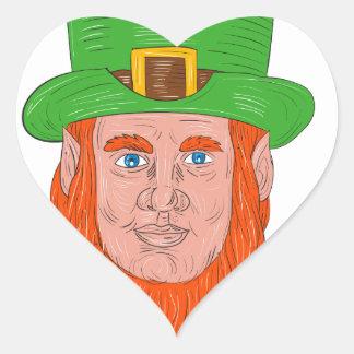 Leprechaun Head Front Drawing Heart Sticker