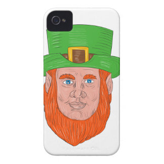 Leprechaun Head Front Drawing iPhone 4 Cover