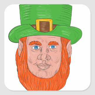 Leprechaun Head Front Drawing Square Sticker