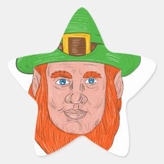 Leprechaun Head Front Drawing Star Sticker