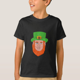 Leprechaun Head Front Drawing T-Shirt