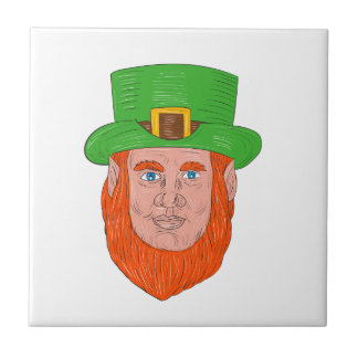 Leprechaun Head Front Drawing Tile