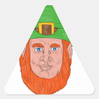 Leprechaun Head Front Drawing Triangle Sticker