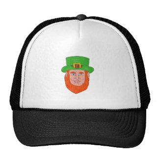 Leprechaun Head Front Drawing Trucker Hat