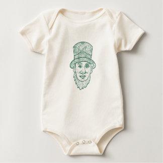 Leprechaun Head Front Mandala Baby Bodysuit