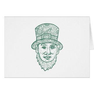 Leprechaun Head Front Mandala Card
