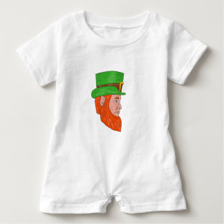 Leprechaun Head Side Drawing Baby Romper