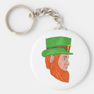 Leprechaun Head Side Drawing Basic Round Button Keychain