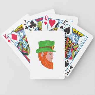 Leprechaun Head Side Drawing Bicycle Playing Cards