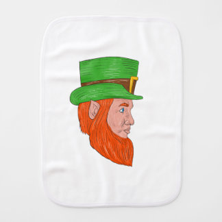 Leprechaun Head Side Drawing Burp Cloth