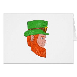 Leprechaun Head Side Drawing Card