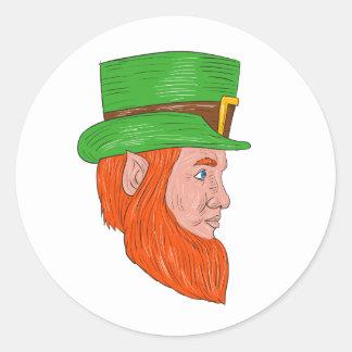Leprechaun Head Side Drawing Classic Round Sticker
