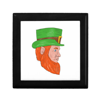 Leprechaun Head Side Drawing Gift Box