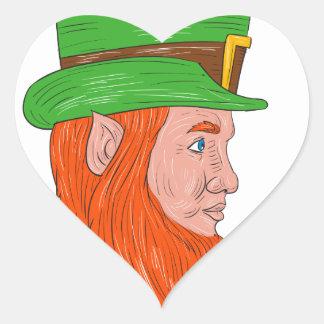 Leprechaun Head Side Drawing Heart Sticker