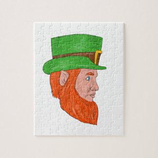 Leprechaun Head Side Drawing Jigsaw Puzzle