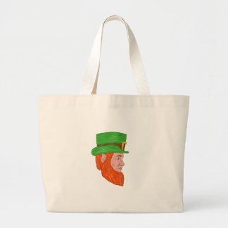 Leprechaun Head Side Drawing Large Tote Bag