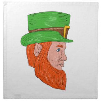 Leprechaun Head Side Drawing Napkin