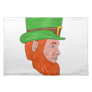 Leprechaun Head Side Drawing Placemat