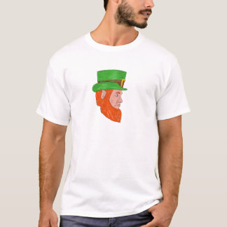 Leprechaun Head Side Drawing T-Shirt