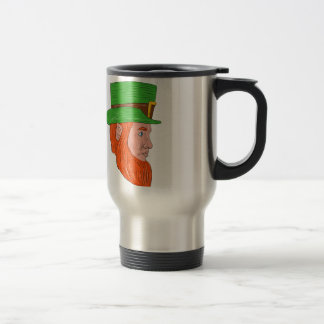 Leprechaun Head Side Drawing Travel Mug