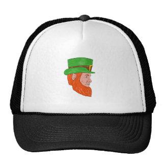 Leprechaun Head Side Drawing Trucker Hat