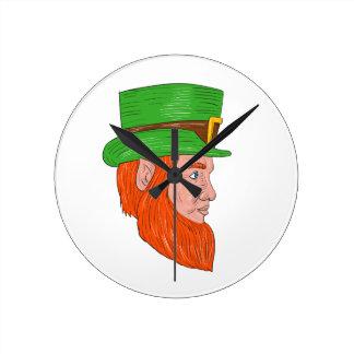 Leprechaun Head Side Drawing Wall Clock