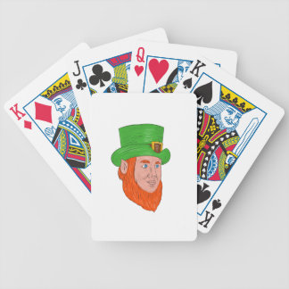 Leprechaun Head Three Quarter View Drawing Bicycle Playing Cards