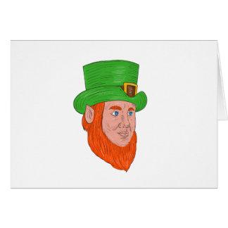 Leprechaun Head Three Quarter View Drawing Card