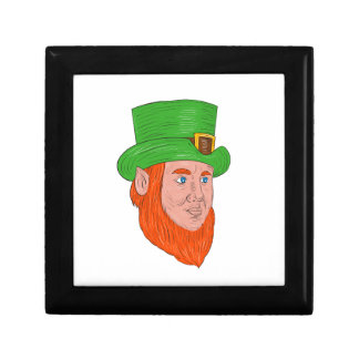 Leprechaun Head Three Quarter View Drawing Gift Box