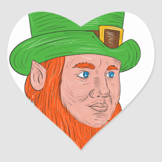 Leprechaun Head Three Quarter View Drawing Heart Sticker
