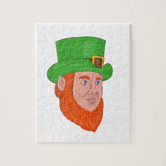Leprechaun Head Three Quarter View Drawing Jigsaw Puzzle