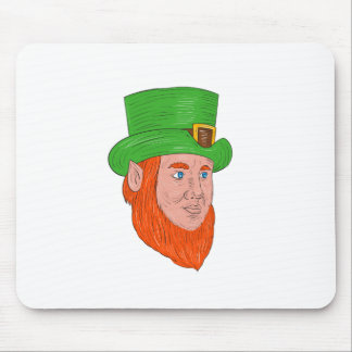 Leprechaun Head Three Quarter View Drawing Mouse Pad