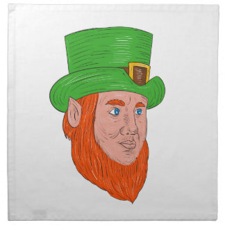 Leprechaun Head Three Quarter View Drawing Napkin