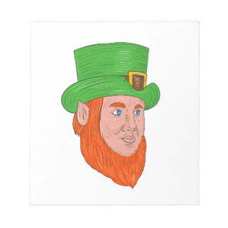 Leprechaun Head Three Quarter View Drawing Notepad