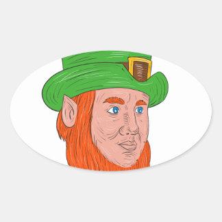 Leprechaun Head Three Quarter View Drawing Oval Sticker