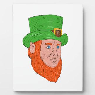 Leprechaun Head Three Quarter View Drawing Plaque