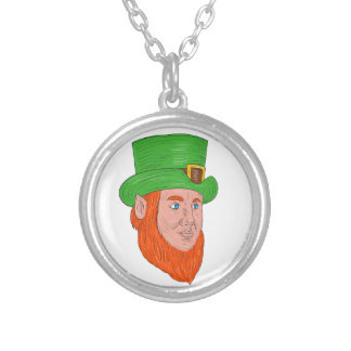 Leprechaun Head Three Quarter View Drawing Silver Plated Necklace