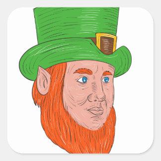 Leprechaun Head Three Quarter View Drawing Square Sticker