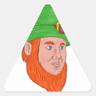 Leprechaun Head Three Quarter View Drawing Triangle Sticker