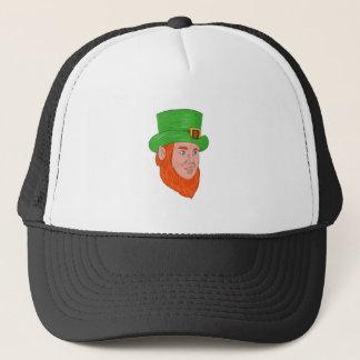 Leprechaun Head Three Quarter View Drawing Trucker Hat