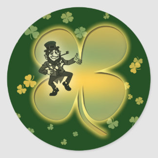 Leprechaun irish luck shamrocks stickers