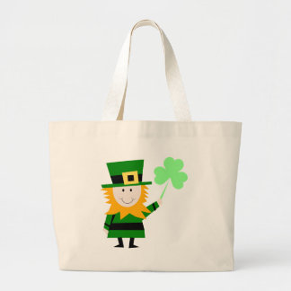 Leprechaun Lucky Clover Man Large Tote Bag