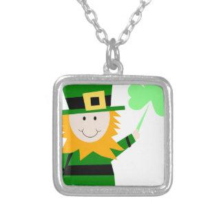 Leprechaun Lucky Clover Man Silver Plated Necklace
